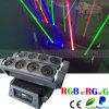 RGB 8 cabezas móviles de la viga de la araña de luz láser