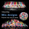 100PCS Polymer Fimo Clay Mixed Cane Nail Slice Charms Set