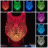 Regalo del giocattolo della lampada della Tabella dello scrittorio del cambiamento LED di colore di notte 7 della decorazione del lupo 3D/lampada di scrittorio animali caldi Tabella del lupo