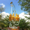 Tubo de agua de cristal del dragón amarillo de las columnas que fuma con el clavo (ES-GB-619)