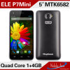 De Vierling 5inch Mtk6582 Core Android 4.2 3G Dual SIM China Mobile Phone van Elephone P7mini