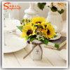 Floricultura Potted dos bonsais da planta do girassol artificial para a decoração floral Home