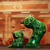 Supporti di candela di ceramica decorativi del gufo di Shunjiafu, verdi con il disegno buono, un insieme di 2