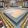 Modelo de madera 8.0m m del arce del baloncesto del PVC del rodillo azul de interior del suelo