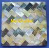 黒く及び黄色のモップの貝のモザイク・タイル、装飾的なタイル、モザイクシート