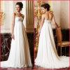 2013 bretelles en mousseline de soie blanc ivoire de broderie perlée Empire robe de mariée (H033)