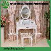 化粧台の腰掛けミラーの優雅で白い構成の毛の釘の引出しの寝室の机