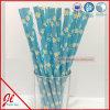 Pailles de papier de papier de plastique de pailles d'Eco de pailles à boire de coeur bleu