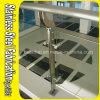 Balcón de interior del acero inoxidable que cerca la barandilla con barandilla de cristal clara