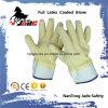 Katoenen Voering met de volledig Gele Handschoenen van het Werk van het Manchet van de Veiligheid van het Latex Kreuk Gebeëindigde
