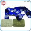 Медали деталей сувенира покрынные бронзой прямоугольные с тесемкой
