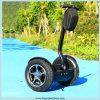 Ecoriderの電気スクーターのバランスをとっている大人の市道の自己