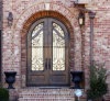 Porta de entrada dianteira de bronze de cobre luxuosa arqueada