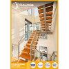 Escalera recta modificada para requisitos particulares de la dimensión de una variable de madera de las escaleras U con la escalera de cristal del estándar del Ce del pasamano