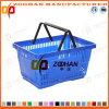 Panier en plastique neuf personnalisé de système de traitement de double de supermarché (Zhb36)
