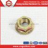 Noix galvanisées jaunes de bride d'hexagone DIN 6923