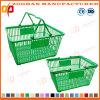 Panier à provisions en plastique empilable bon marché de supermarché avec 2 traitements (Zhb150)