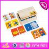Профессиональная деревянная игра домина 2015, домино Montessori воспитательное деревянное преграждает игрушку, домино установленное W15A058 игрушки верхнего качества деревянное