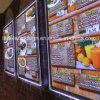 Do menu acrílico de cristal da fruta da exposição da janela caixa leve do diodo emissor de luz