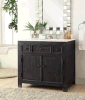 Somette Black 6 Inch 2-Drawer Tropfen-in Vanity Sink (LZ-142)