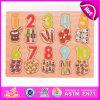 Brinquedo de madeira educacional adiantado do enigma do número 2015, aprendendo o enigma do número para crianças, brinquedo de madeira W14b054 do enigma do desenvolvimento do cérebro