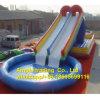 Piscina inflable barata al por mayor redonda con la diapositiva de agua, piscina inflable