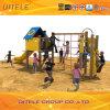 Kind-Spielplatz-blaues Haus Climber&Slide (PE-04701)