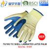 перчатка работы безопасности ладони латекса 7g/10g T/C прокатанная раковиной (S1501) с CE, En388, En420 для перчаток пользы конструкции