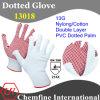 13G белый нейлон / хлопок двойной слой Трикотажные перчатки с красной ПВХ точек / EN388: 214X