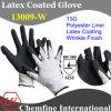 13G белый полиэстер трикотажные перчатки с черным латекса морщин покрытия / EN388: 3232