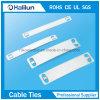 Plaque signalétique métallique à lustre avec attache-câble auto-verrouillable
