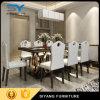 好ましい価格の食堂の大理石のダイニングテーブルのステンレス鋼表