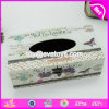 A venda por atacado personaliza a tampa de caixa branca de madeira W18A007 do tecido da decoração Home