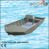 un tipo barco de aluminio de Jon con la consola lateral