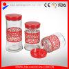 Tarro barato al por mayor del caramelo de Desiger de vidrio con diseño del acero inoxidable