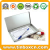 Silber eingehängter rechteckiger dünner Zinn-Kasten für Briefpapier-Ablagekästen