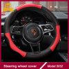Alta qualidade de couro vermelha da tampa de roda da direção do carro