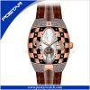 Psd-2325 l'orologio unisex di modo del cinturino della vigilanza di caso automatico di cuoio di colore