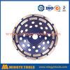 Roue de meulage de cuvette de double diamant de rangée pour le matériau général de maçonnerie