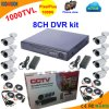 8 canal DVR Kit con Cmos 1000tvl Bullet Camera