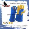 Fine Blue Cow Split Couro Segurança Industrial Luva de trabalho de soldagem