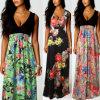 Euramerican Fashion Printed Long V Neck Sleevless Dress