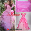 Ballkleid-Kappen-Hülsen-Rosa-Taft-Organza-Abschlussball-Kleid mit dem Falten (TY019)