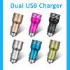 Carregador dobro de alumínio do carro do telefone móvel do USB do metal 5V 2.1A do projeto novo da bala