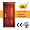 Interior de lujo clásico individual teca roble Diseño puerta de madera (SC-W086)