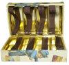 Boîte de cadeau rigide contrecarrée par or de raccordement élastique de papier