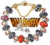 Bracelete chapeado ouro Af14 do grânulo do encanto de Halloween