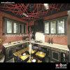 Armário de cozinha preto luxuoso da madeira contínua da parte alta do ISO Welbom