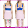Newest Fashion Brand Sleeveless Sexy V-Neck Novelty Patterns Color Scales Bandage Bodycon Dresses Party Prom Dress (D02-J370)