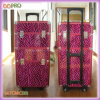 Pink Farbe Zebra Patterns Friseur Beauty Cases PU-Verfassungs-Trolley (SATCMC001)